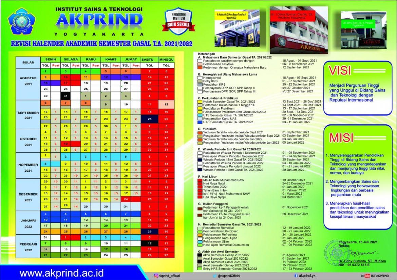 Kalender Akademik Semester Gasal Tahun 2021/2022
